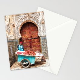 Strawberries in the Medina, Morocco Oil Paint Stationery Cards