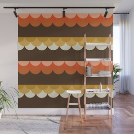 Be Still - scallop retro vintage 70s style colors 1970s throwback Wall Mural