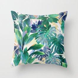 Golden Summer Tropical Emerald Jungle Throw Pillow