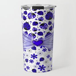 Fancy Blue Ladybugs and Flowers Travel Mug