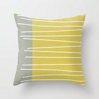 mid century modern Throw Pillows featuring MId century modern textured stripes by Michelle Drew