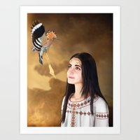 The girl and Hoopoe Art Print