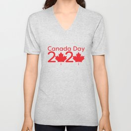 Canada Day 2020 - Red text and Maple leaf Unisex V-Neck