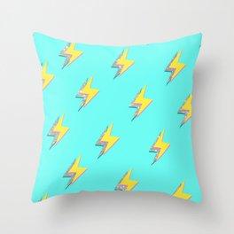 Blue Glitter Lightning Srike  Throw Pillow