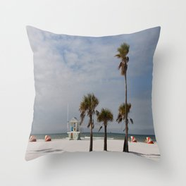Clearwater Beach In Wintertime Throw Pillow