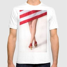American Legs Mens Fitted Tee White MEDIUM