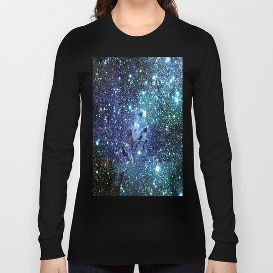 GalaxY Nebula Blue Teal Indigo Long Sleeve T-shirt