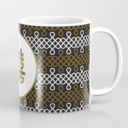 Double Happiness Symbol on Endless Knot pattern Coffee Mug