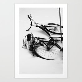 Snow Bicycle Art Print