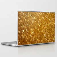 gold glitter Laptop & iPad Skins featuring Gold Glitter 1324 by Cecilie Karoline