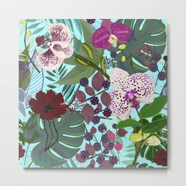 Orchid and Cosmos Flower Botanical Floral Pattern Metal Print