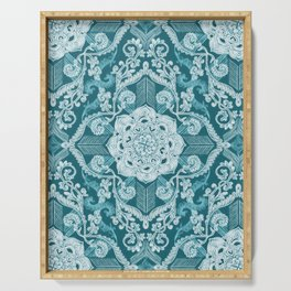 Centered Lace - Teal  Serving Tray