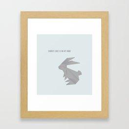 Always On My Mind - Origami Grey Rabbit Framed Art Print