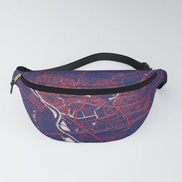 Deventer, Netherlands, Blue, White, City, Map Fanny Pack