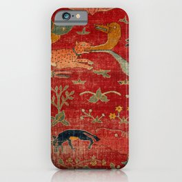 Animal Grotesques Mughal Carpet Fragment Digital Painting iPhone Case