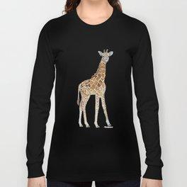 Baby Giraffe Watercolor Painting Long Sleeve T-shirt