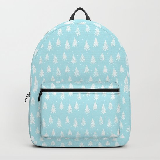 Merry christmas- abstract winter pattern with white trees and snow Backpack