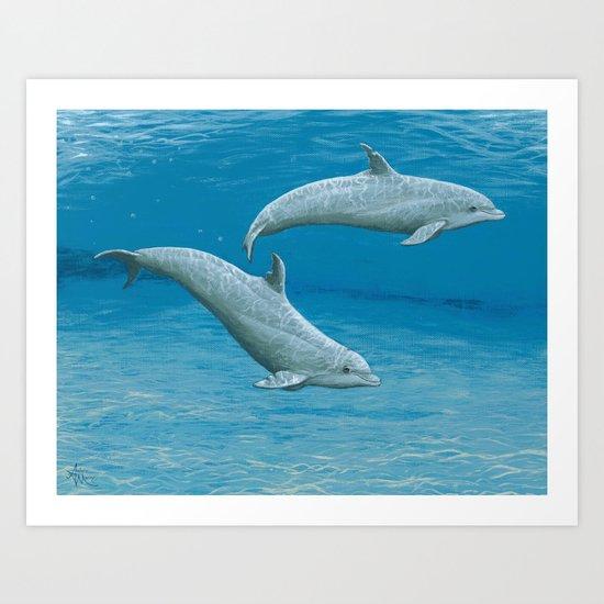 """Sandscape"" by Amber Marine ~ Dolphin Art ~ Acrylic Painting, (c) 2014 Art Print"