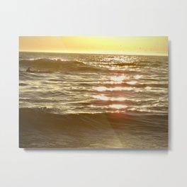 Golden Sparkling Sea-Dolphin Fin Metal Print
