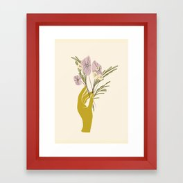 Yellow Hand Florals Framed Art Print