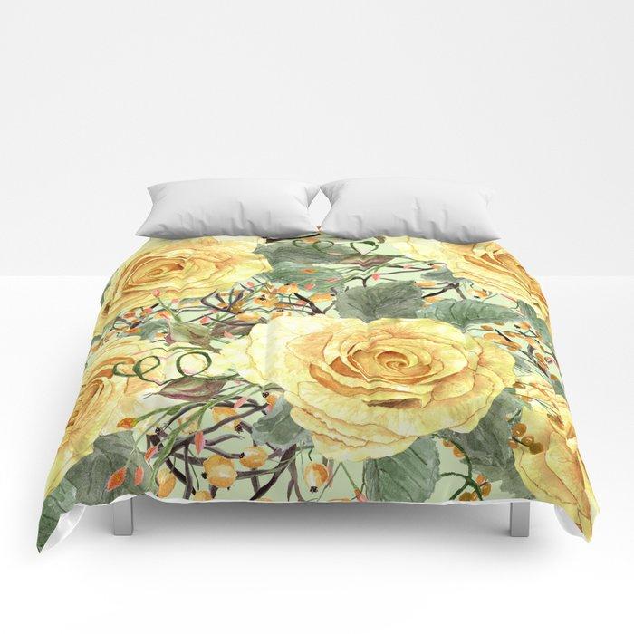 Watercolor Roses #3 Comforters