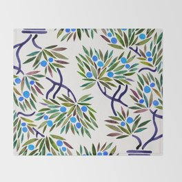 Bonsai Fruit Tree – Blue Palette Throw Blanket