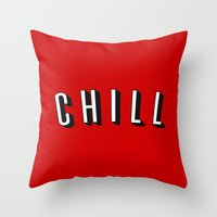 chill Throw Pillows featuring Chill by Jessie Rose