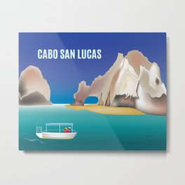 Cabo San Lucas, Mexico - Skyline Illustration by Loose Petals Metal Print