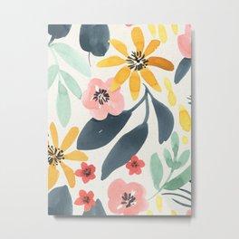 Colorful Mystical Watercolor Floral Plant Pattern Pink Orange Flowers Mint Green Navy Blue Leaves Metal Print
