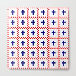 Christian Cross 49 blue and red Metal Print