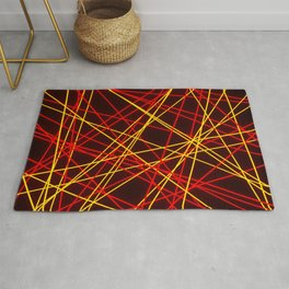 Neon Abstract Line -Red and Yellow, Black- Rug