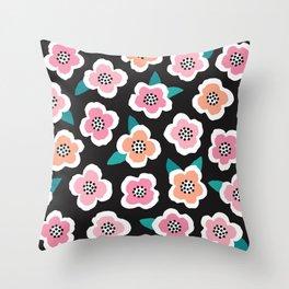 SCANDI BRIAR ROSES - pink on black Throw Pillow