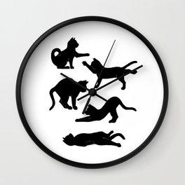 Inky Yoga Cats  Wall Clock