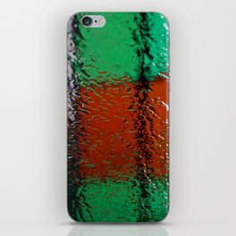 Through the window: Green, red, white colors abstract iPhone Skin