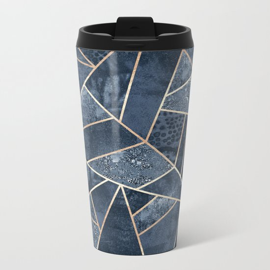 Soft Dark Blue Stone Metal Travel Mug