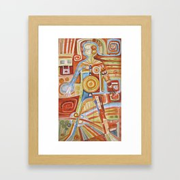 "Puzzle painting "" Woman "" . Mixed media painting . Framed Art Print"