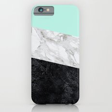 Green white black marble texture iPhone 6s Slim Case