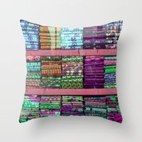 fabric Throw Pillows featuring FABRIC by Louisa Rogers