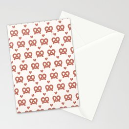 Cute vector pretzel cartoon with smiling face Stationery Cards