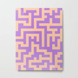 Deep Peach Orange and Lavender Violet Labyrinth Metal Print