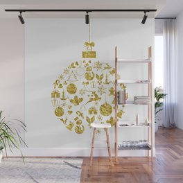 Golden Shimmering Christmas Ornament Bauble Wall Mural