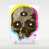 third eye Shower Curtains featuring Third Eye by triplesnake