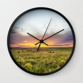 Tallgrass Prairie - Sunset and Bison on the Plains Wall Clock