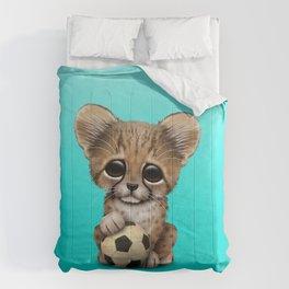 Cheetah Cub With Football Soccer Ball Comforters