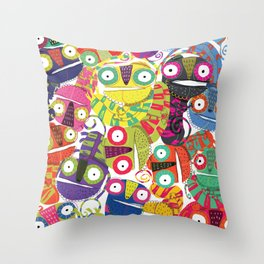 Colored lizards Throw Pillow