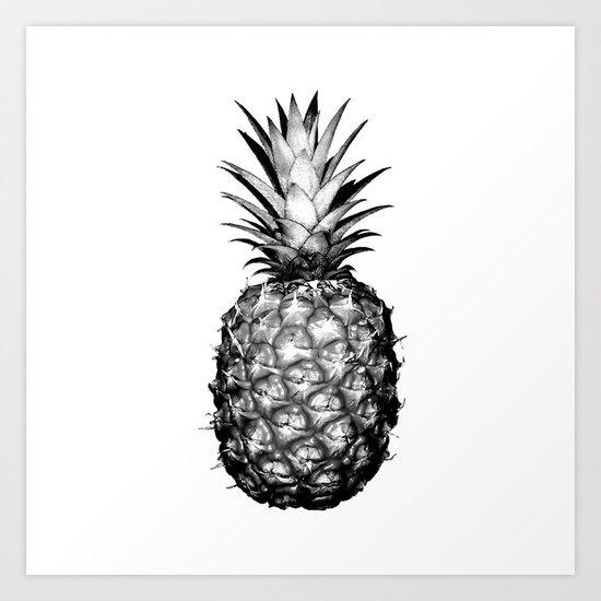 Black & White Pineapple Art Print