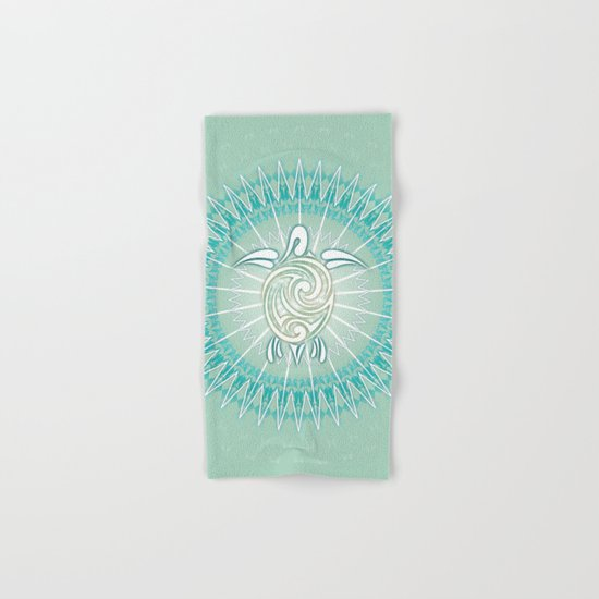 Turquoise Green Turtle And Mandala Hand & Bath Towel