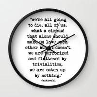 bukowski Wall Clocks featuring Charles Bukowski Typewriter Quote Circus by Fligo
