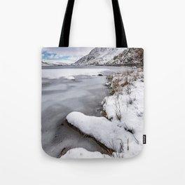 Snowfall at Ogwen Lake Snowdonia Tote Bag