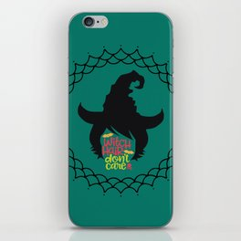 Witch Hair Don't Care-Teal iPhone Skin